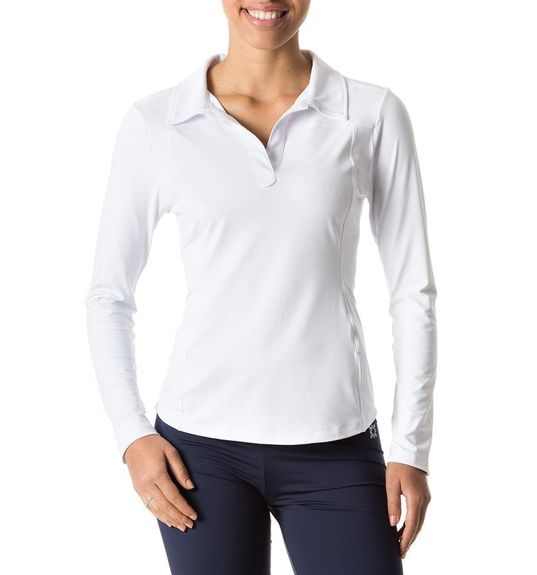 de3b151fe Uvline Camiseta Polo ML Feminino Branco Proteção Solar