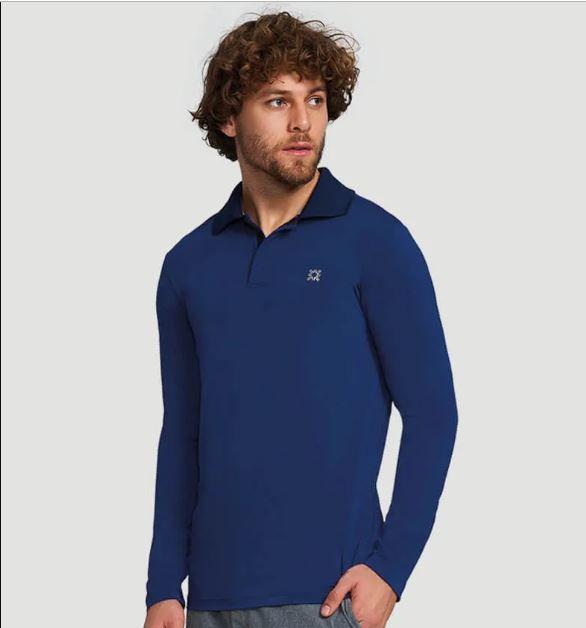 UV LINE Camiseta Masculina Polo Manga Longa Proteção Solar