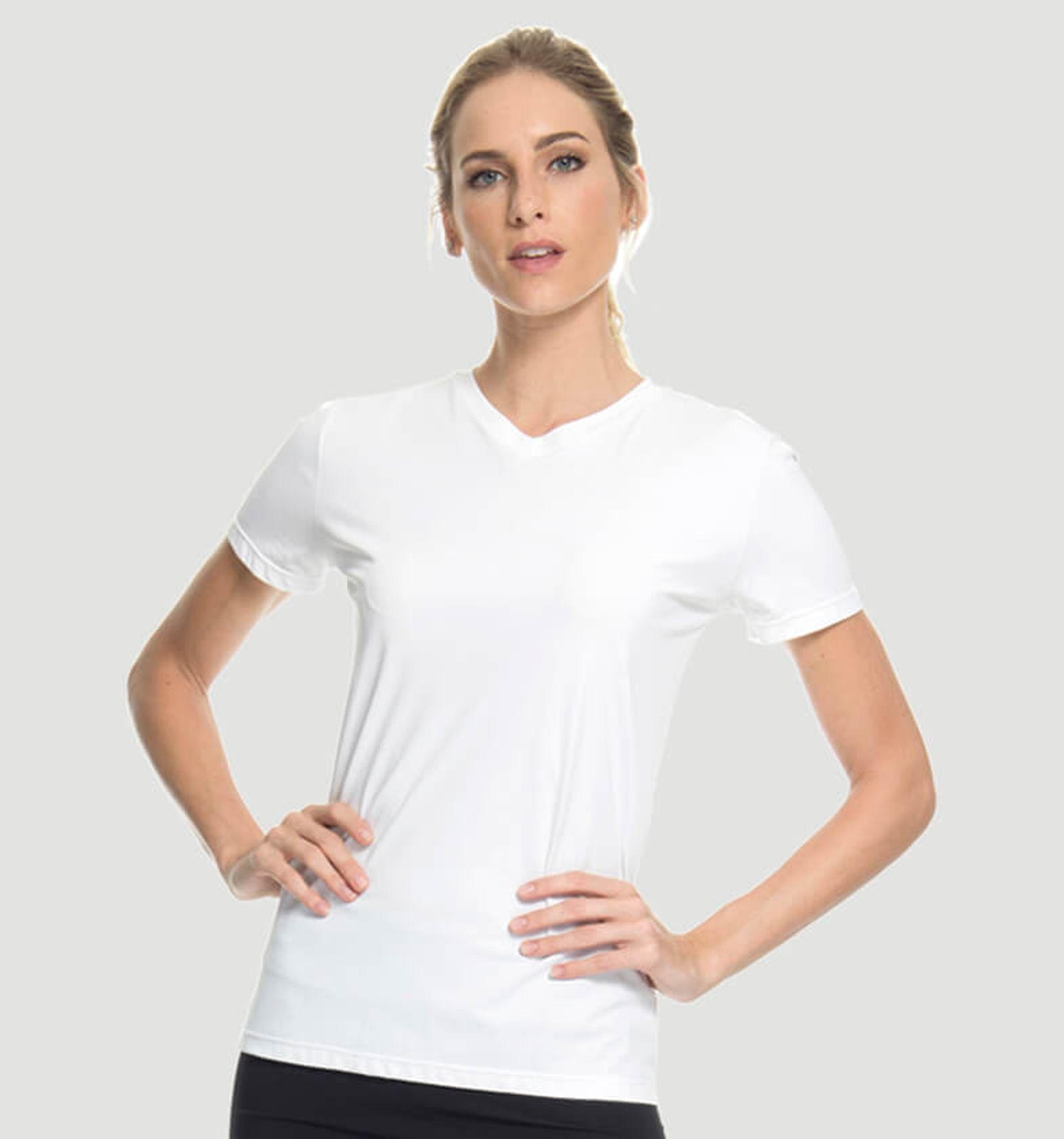 UV LINE Camiseta Sport Fit Manga Curta Feminino Proteção Solar