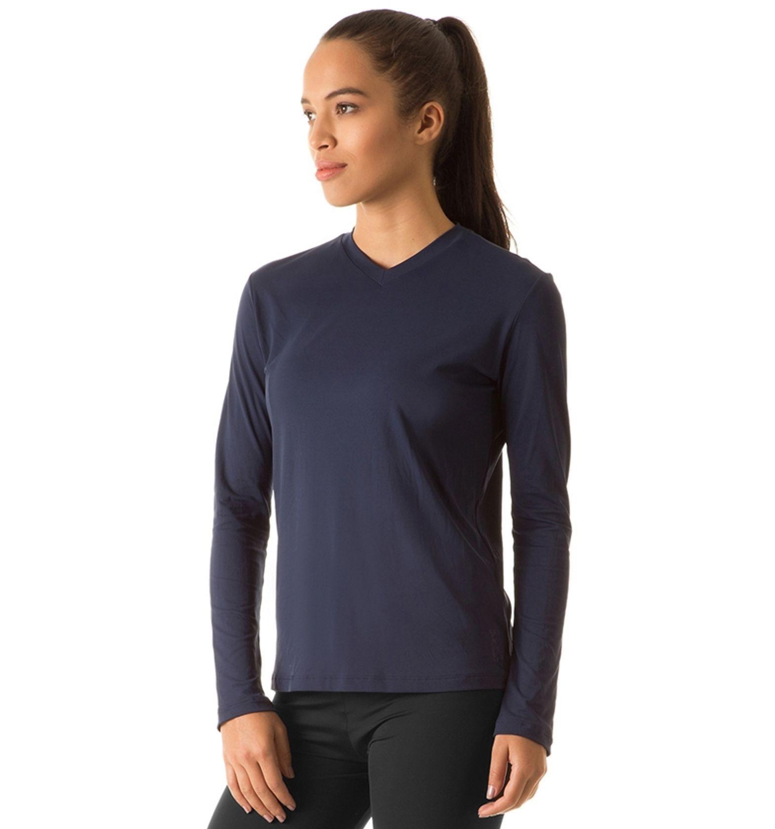 Uvline Camiseta Sport Fit ML Feminino Marinho Proteção Solar ... 343f2018555