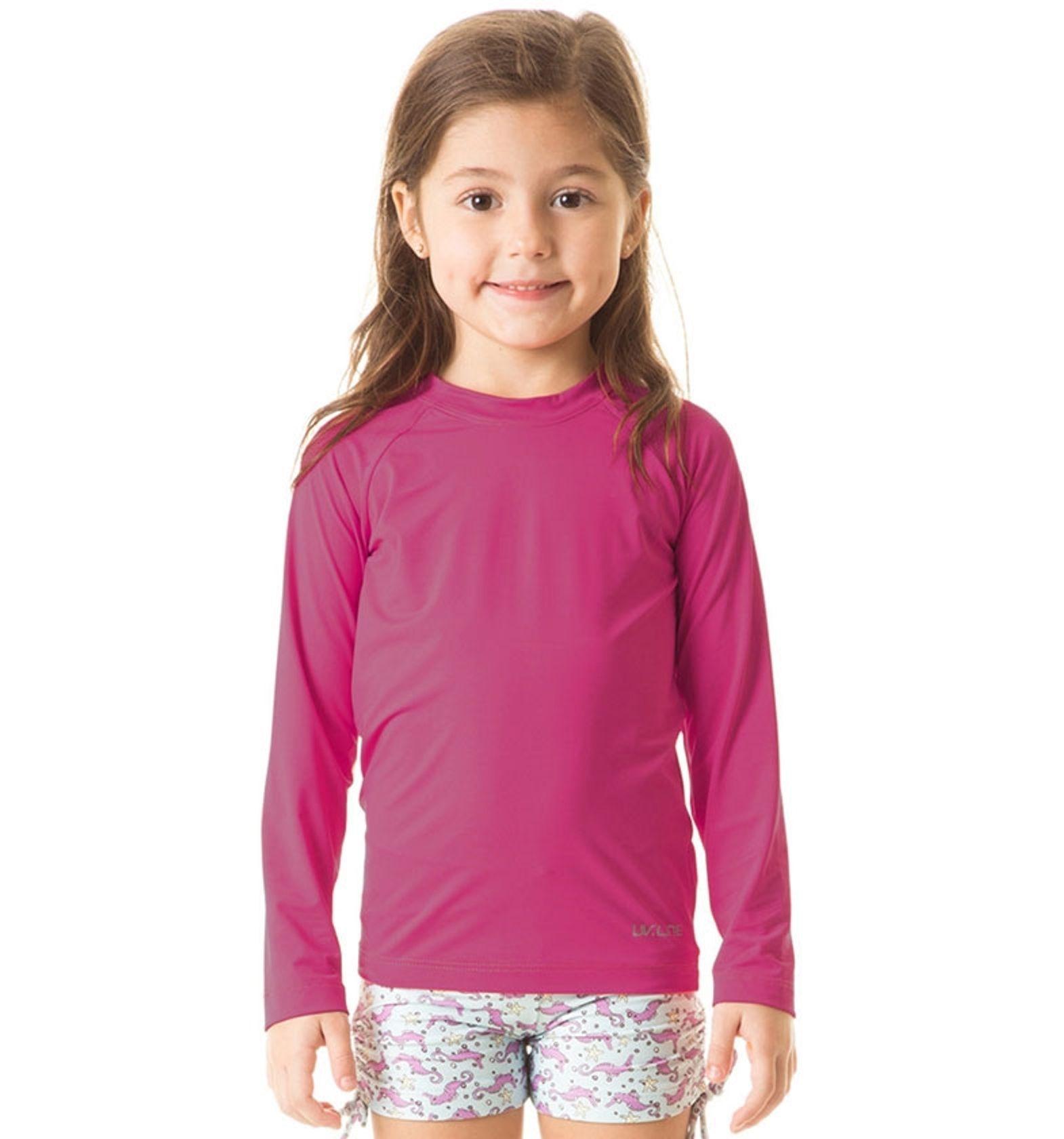 UV LINE Camiseta Uvpro ML Infantil Magenta Proteção Solar