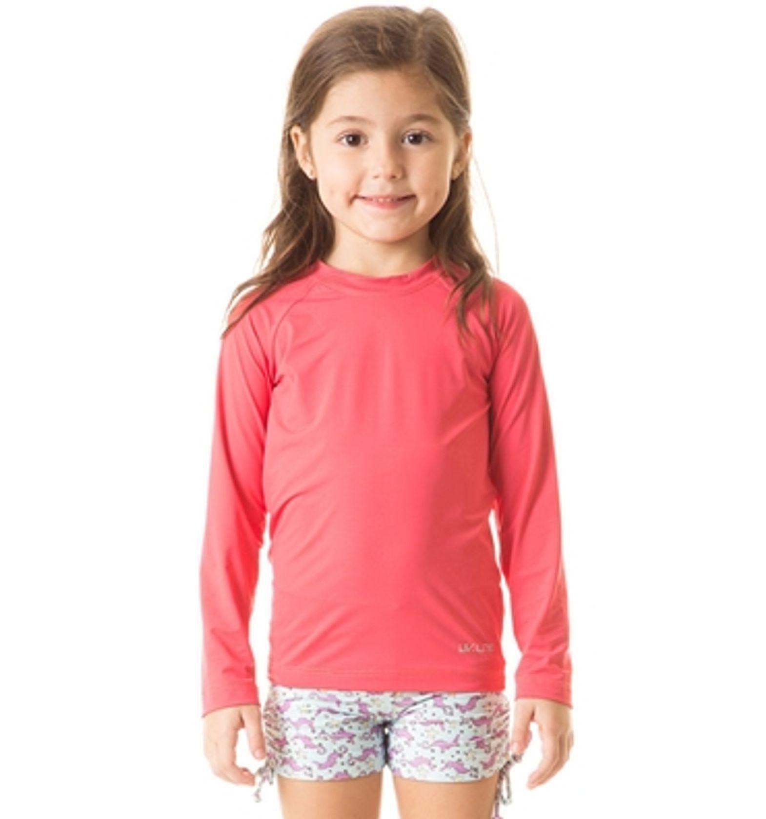 UV LINE Camiseta Uvpro Manga Longa Infantil Rosa Gloss Proteção Solar