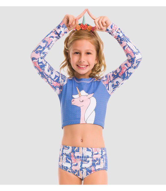 UV LINE Hot Pant Unicórnio Infantil Azul Claro Proteção Solar