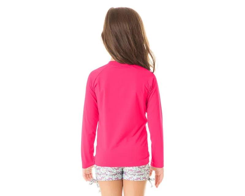 UV LINE Camiseta Uvpro Manga Longa Infantil Pink Proteção Solar