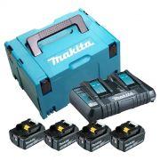 Kit Carregador DC18RD + 4 Baterias BL1850B + Makpac Nº3 MKP3PT184