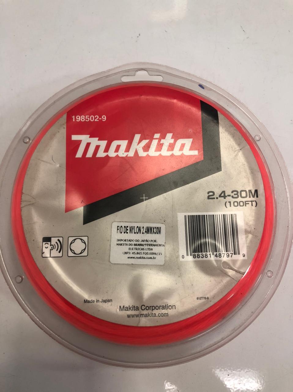 FIO DE NYLON 2,4MM X 30 METROS TORCIDO, M/ MAKITA - 1985029