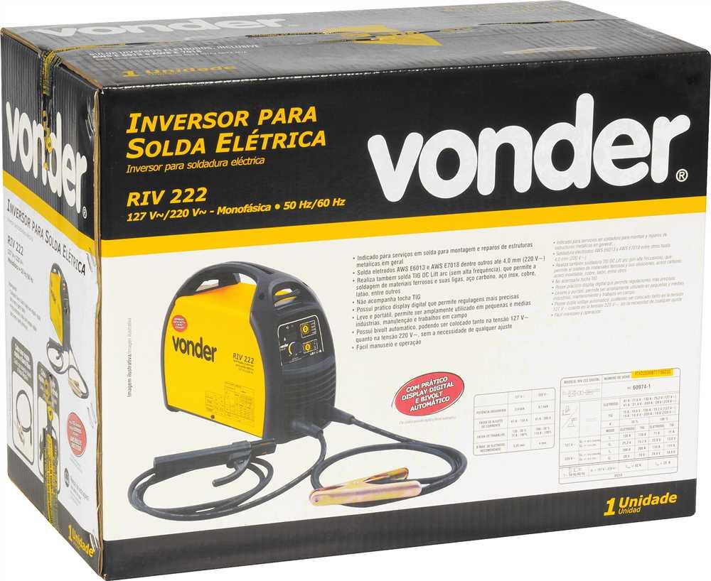 INVERSOR PARA SOLDA COM ELETRODO E TIG, COM DISPLAY DIGITAL, BIVOLT, RIV 222, VONDER - 6878222000