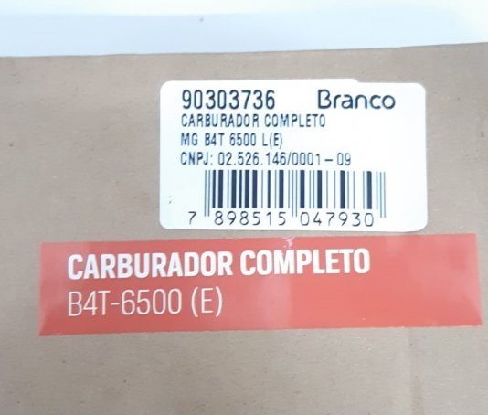 CARBURADOR COMPLETO DO GERADOR BRANCO B4T 6500E - GASOLINA - ORIGINAL - 90303736