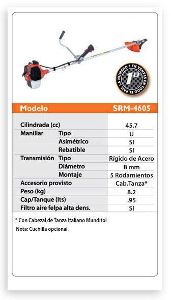 Roçadeira a Gasolina Echo SRM4605 2,44HP 45,7 Cilindradas