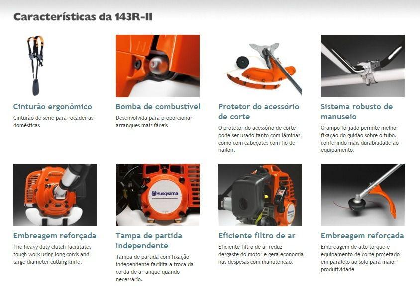 Roçadeira a Gasolina Husqvarna 143RII 2,01HP 41,5 Cilindradas