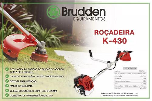 ROÇADEIRA LATERAL A GASOLINA BRUDDEN K430 42,7 CILINDRADAS POTENCIA 1,7hp