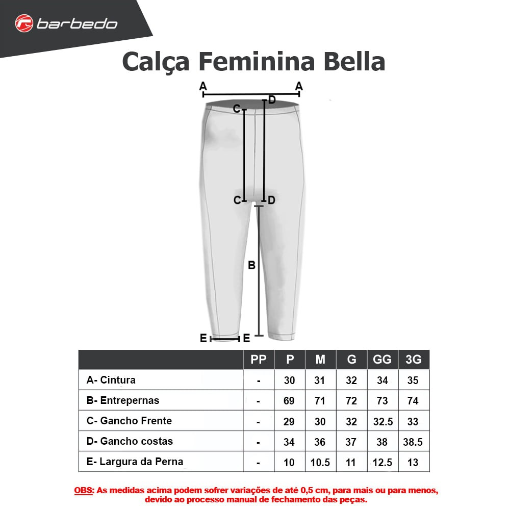 Calça ciclismo feminina Barbedo Bella