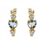 Brinco Banho Ouro Coração pedras Cristal e Aquamarine