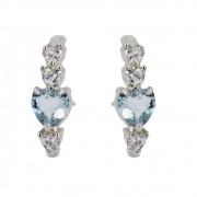 Brinco Ródio Branco Coração pedras Cristal e Aquamarine