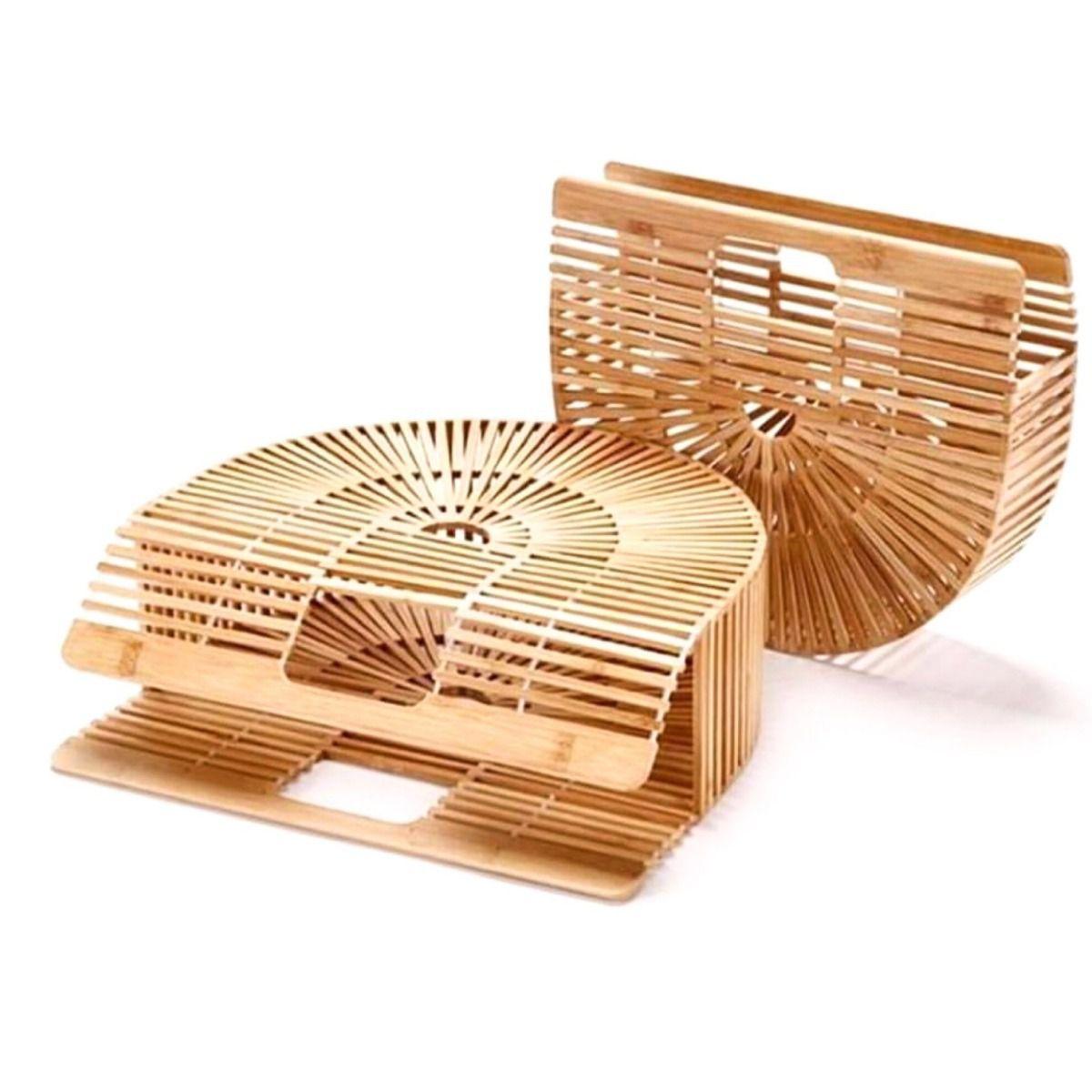Bolsa Clutch Modelo Cult Gaia de madeira natural bambu