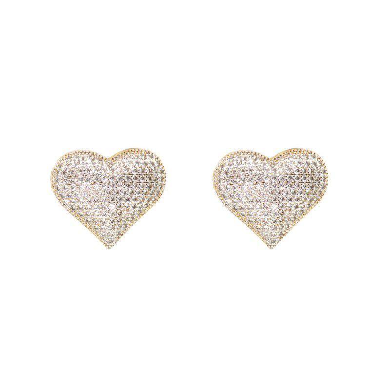 Brinco Coração Cravejado Banho Ouro com Zircônia Branca
