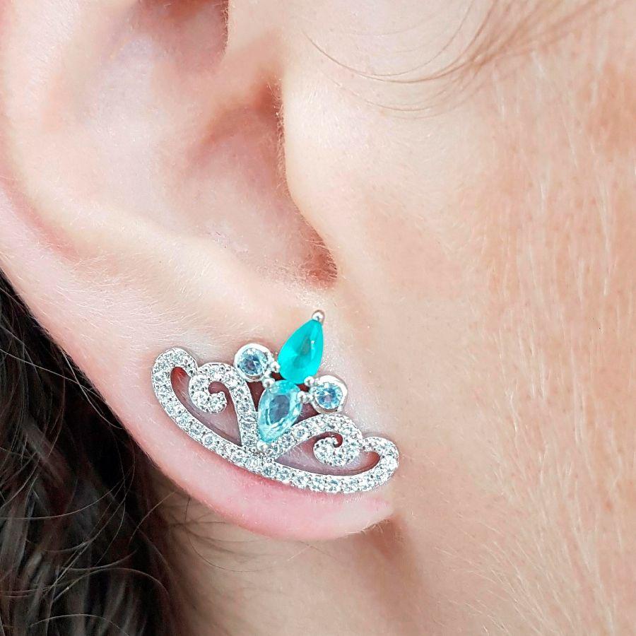 Brinco Coroa de Gotas em Zircônia Branca com Cristal Topázio Azul