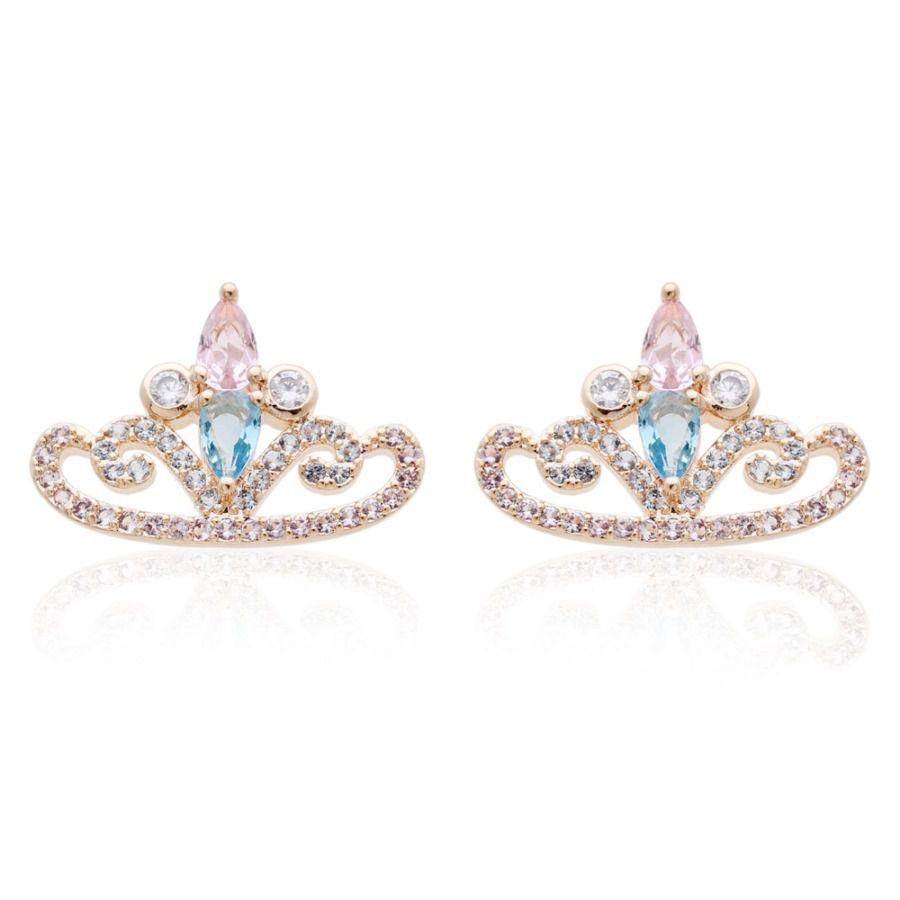 Brinco Coroa de Gotas em Zircônia Rosa com Cristal Quartzo Azul