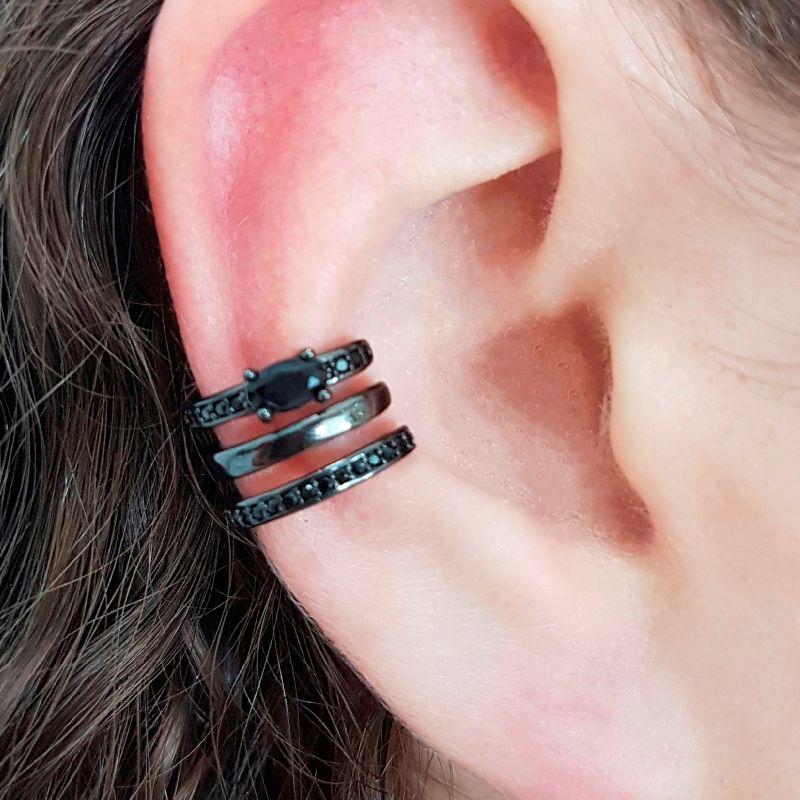 Piercing Fake Ear Bracelet 3 Linhas em Zircônia Negra