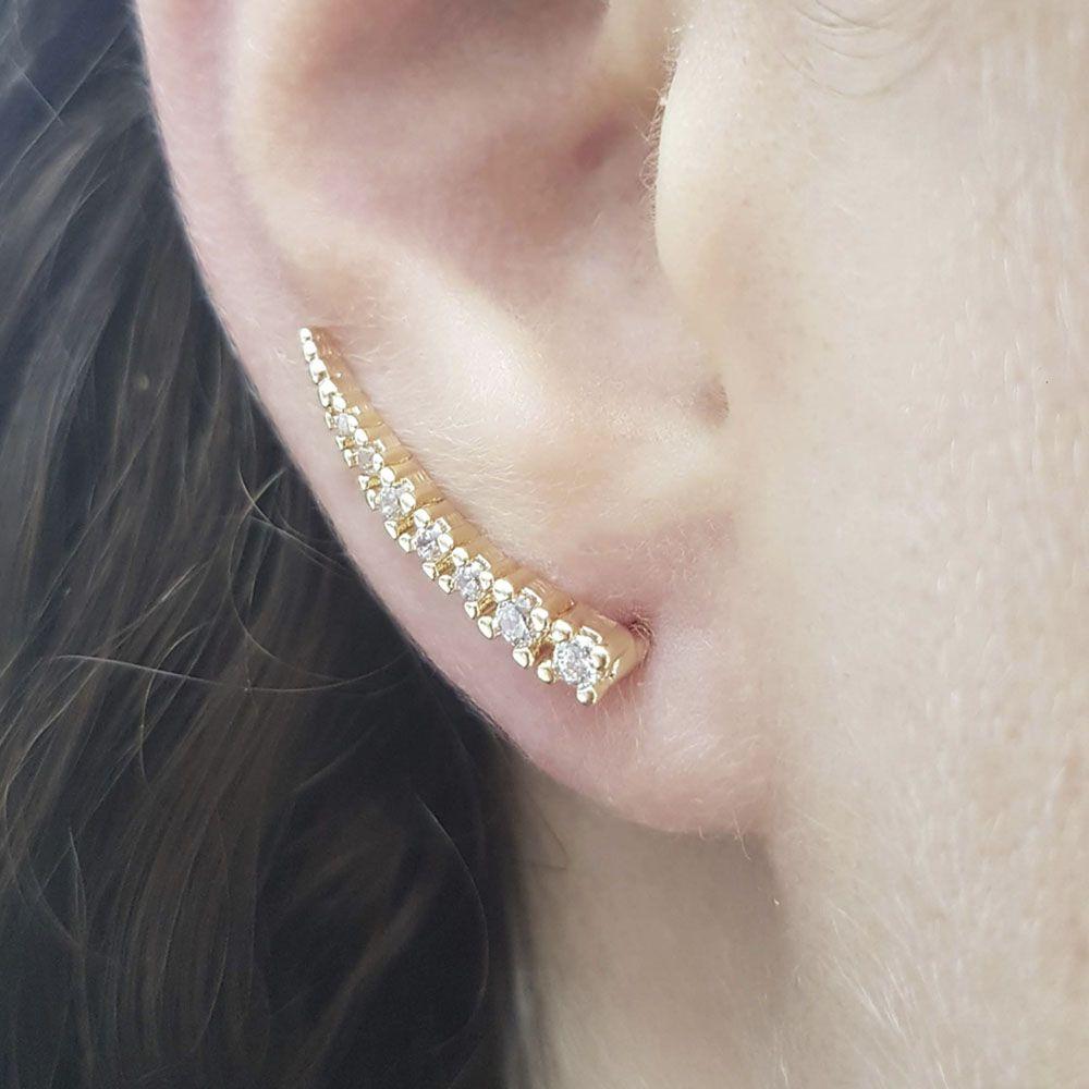 Brinco Ear Cuff Banho Ouro com Zircônia Branca