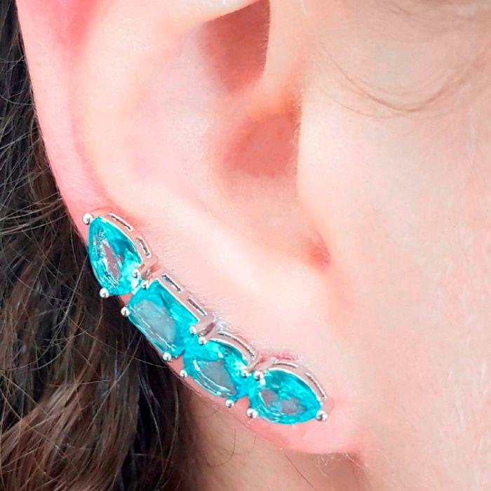 Brinco Ear Cuff Cristal Topázio Azul 4 Pedras