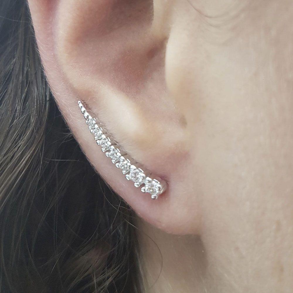 Brinco Ear Cuff Ródio Branco com Zircônia Branca