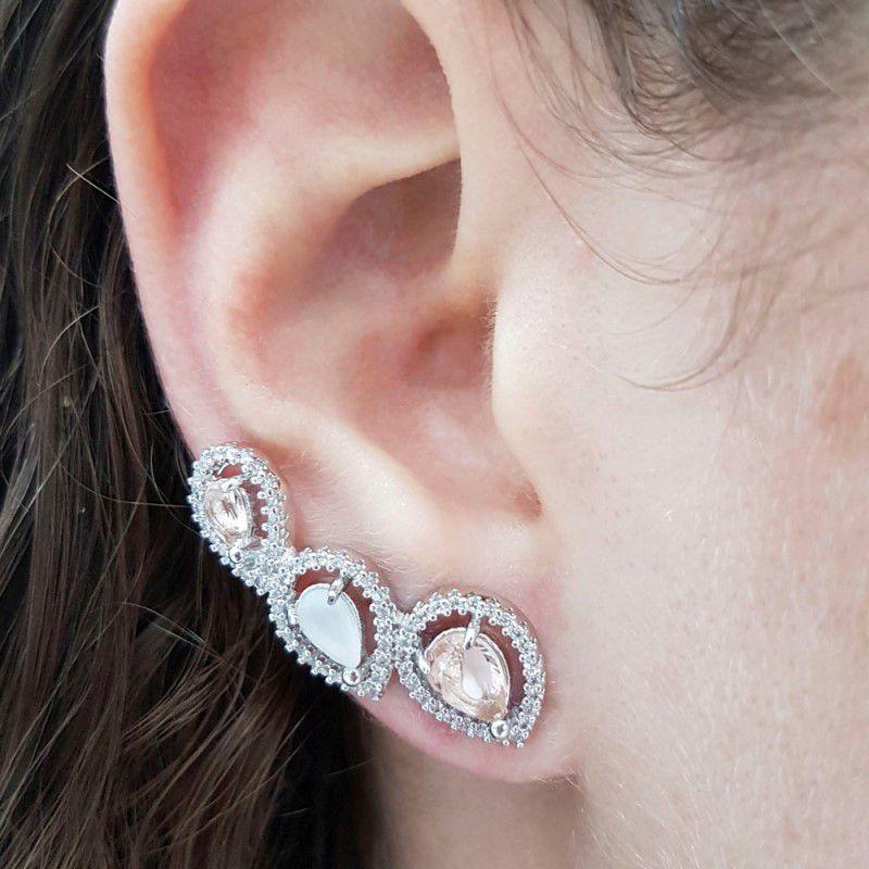Brinco Ear Cuff Ródio Branco Morganita e Opala