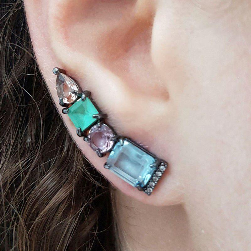Brinco Ear Cuff Ródio Negro com Mix de Pedras