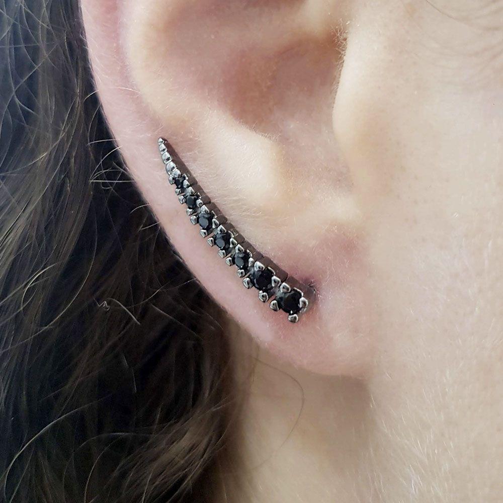 Brinco Ear Cuff Ródio Negro com Zircônia Negra
