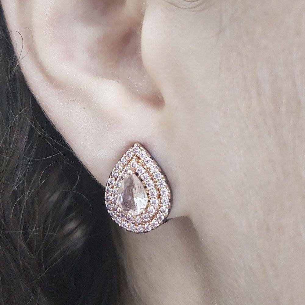 Brinco Gota Bordada Ear Click Cristal Morganita e Zircônia Rosa