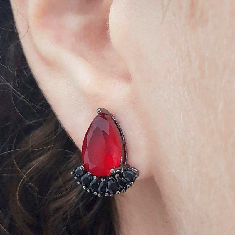 Brinco Longo Gota de Cristal Rubi bordada de Zircônia Negra