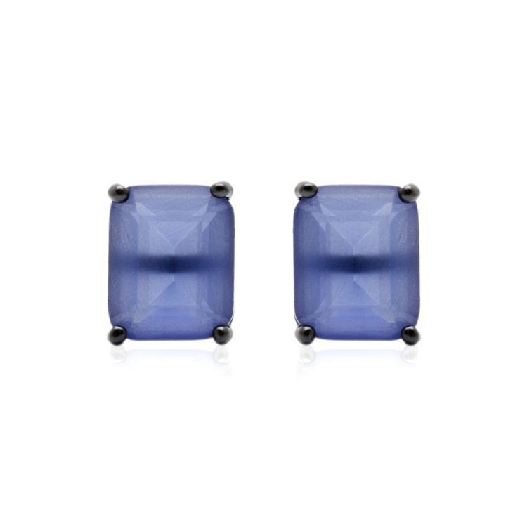 Brinco Retangular Cristal Tanzanita 8X10