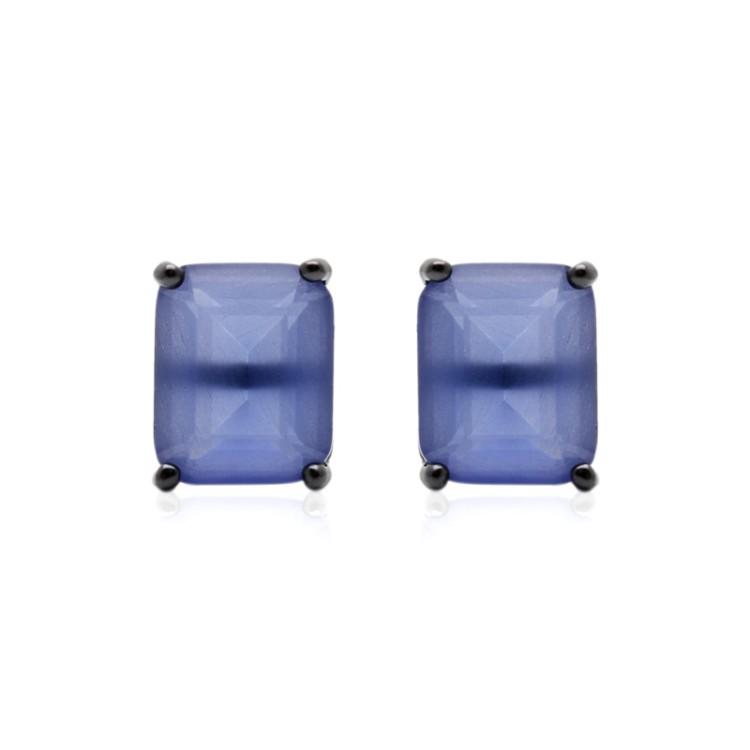 Brinco Retangular em Ródio Negro com Cristal Tanzanita