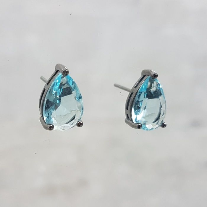 Brinco Topázio Azul Gota 8x12