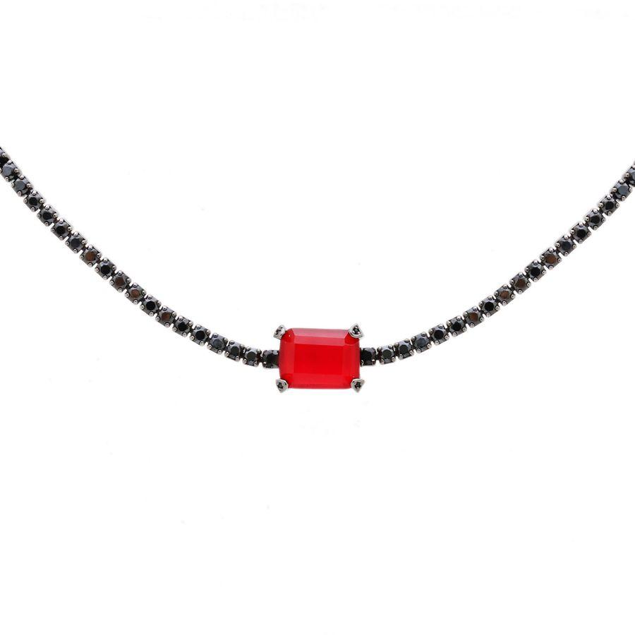 Choker Ródio Negro com Retângulo de Cristal Rubi com Zircônia Negra