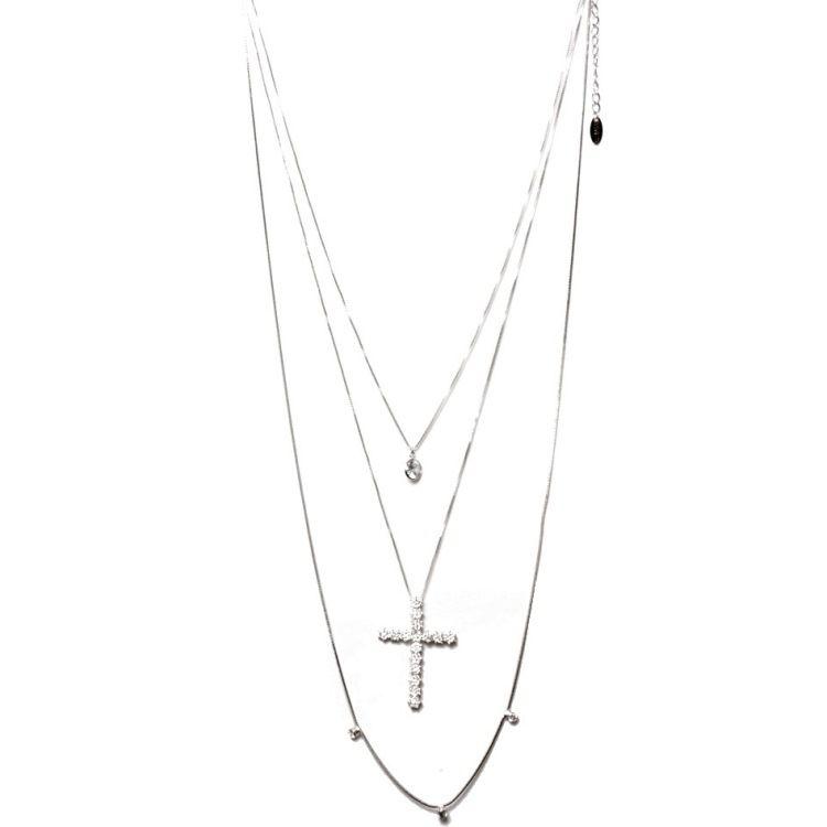 Colar Cascata 3 Alturas com Pingente + Crucifixo