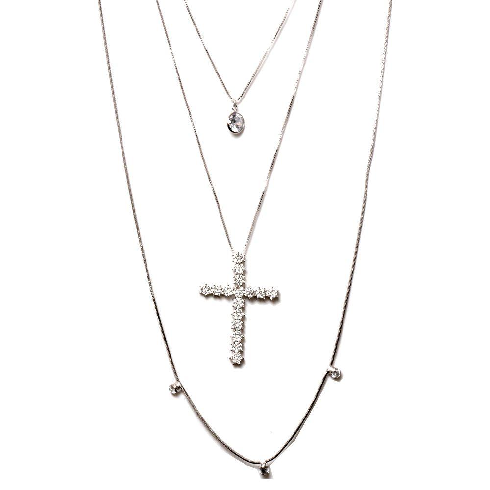 Colar Cascata 3 Alturas com Pingente + Crucifixo Zircônia
