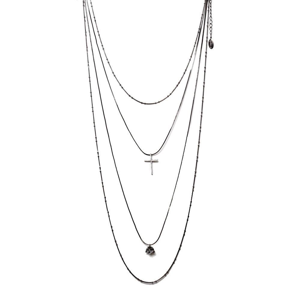 Colar Cascata 4 Alturas Banho Ródio Negro com Pingente Diamante + Crucifixo