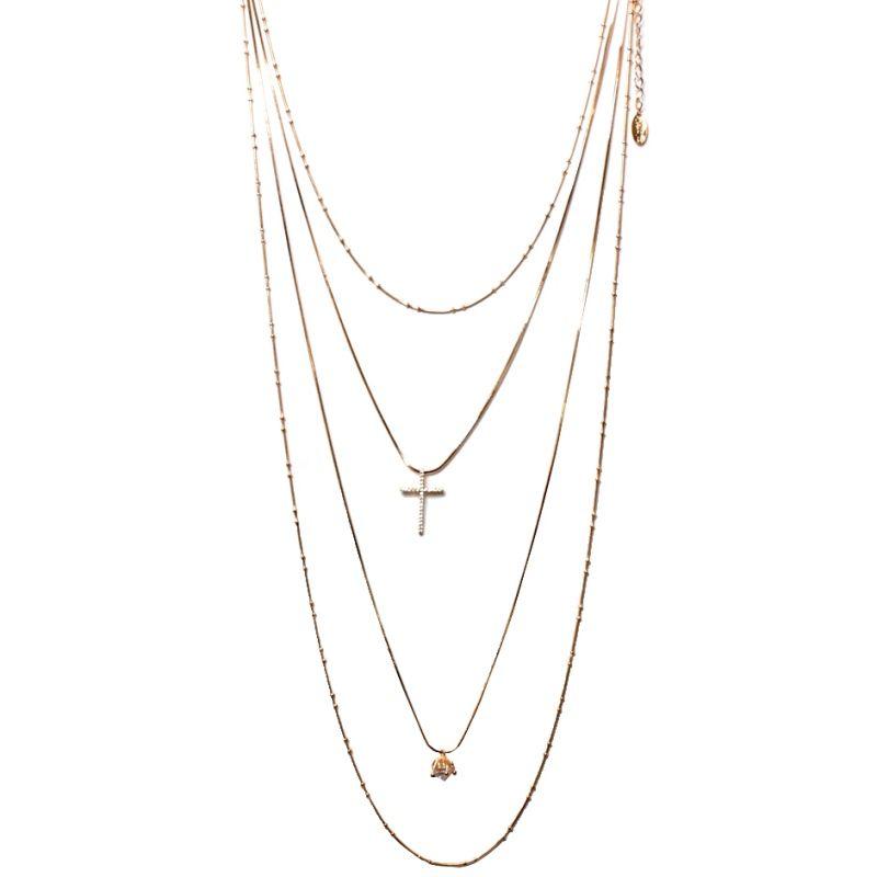 Colar Cascata 4 Alturas em Banho Ouro com Pingente Diamante e Crucifixo