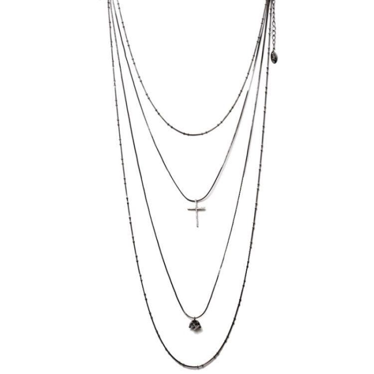 Colar Cascata 4 Alturas Ródio Branco + Pingente Diamante + Crucifixo