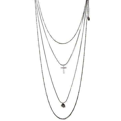 Colar Cascata 4 Alturas Ródio Negro Pingente Diamante e Crucifixo