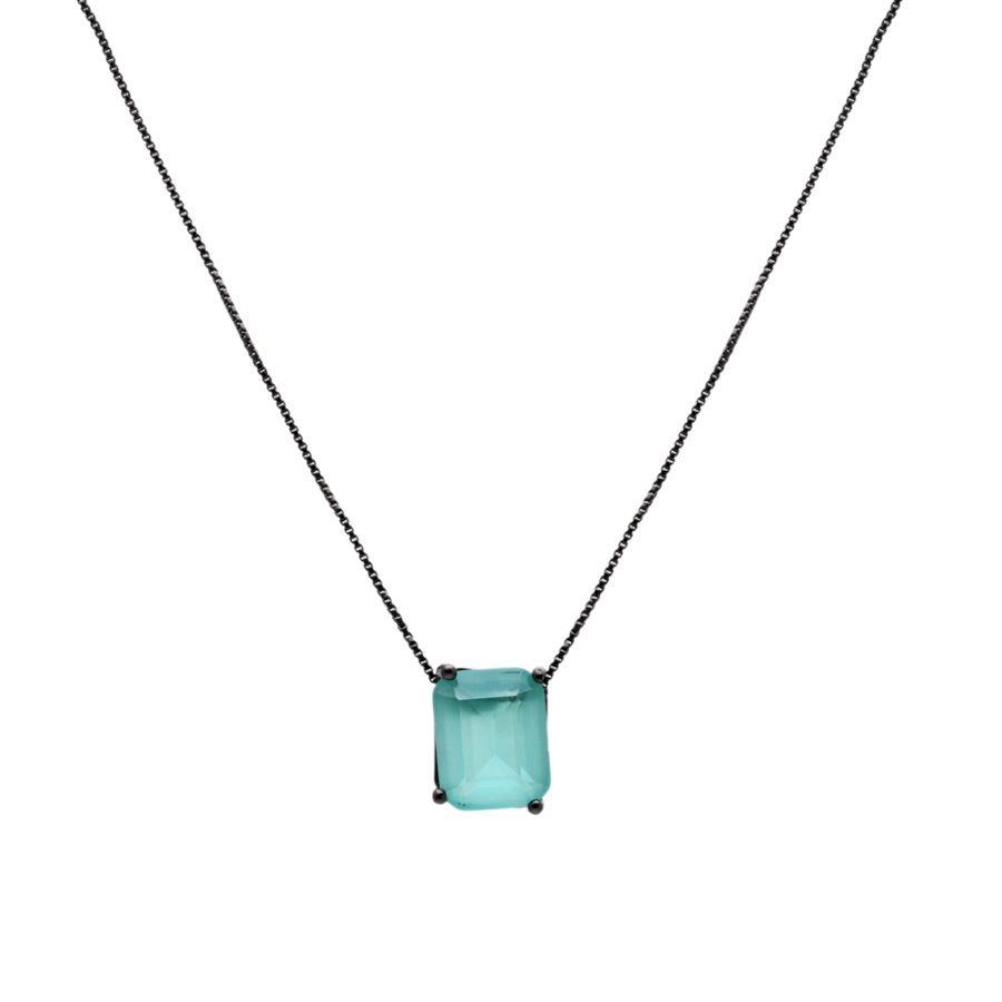 Colar com Pedra Retangular Cristal Paraíba 8X10