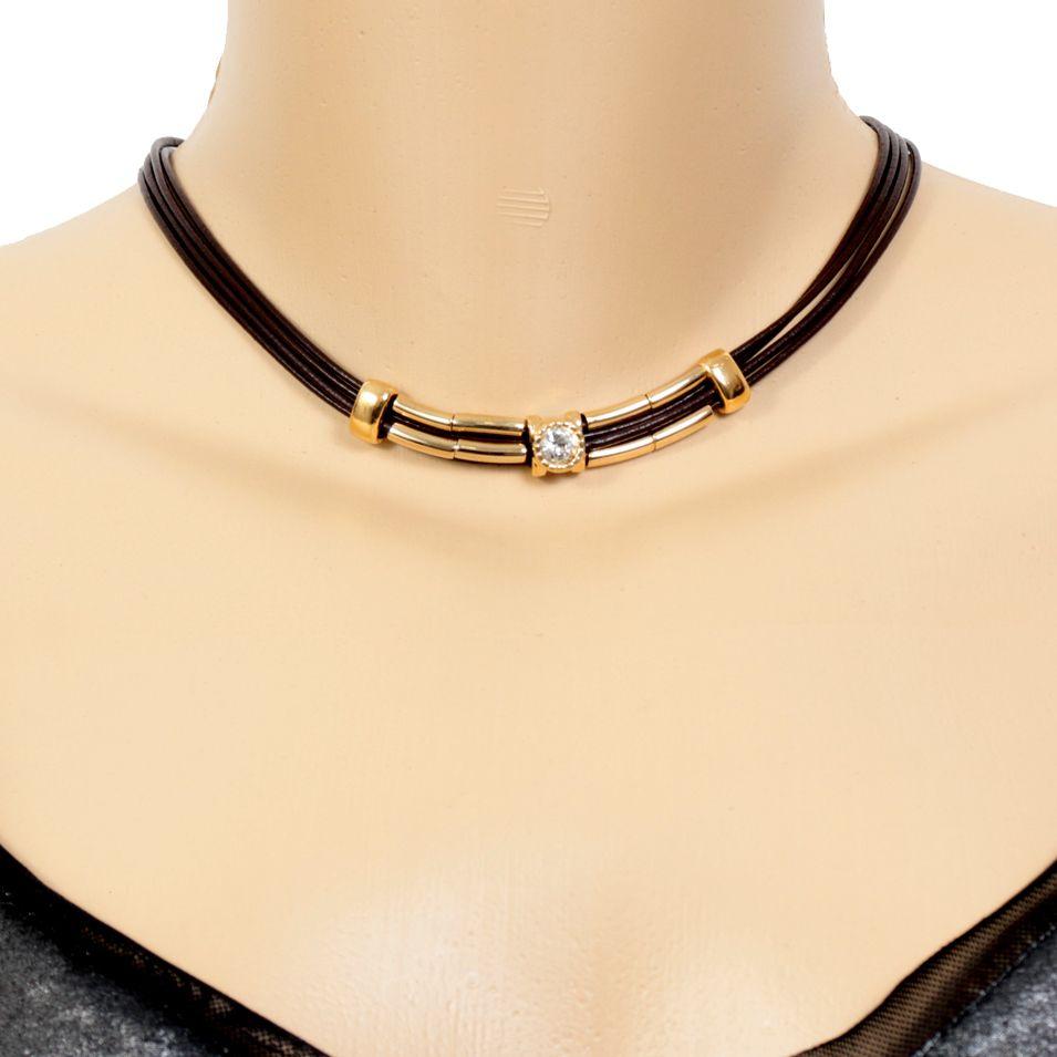 Colar Couro com Detalhe Dourado + Pedra