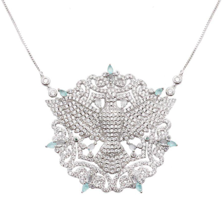 Colar Cristal Topázio Azul Zircônia Branca Espírito Santo com Mandala