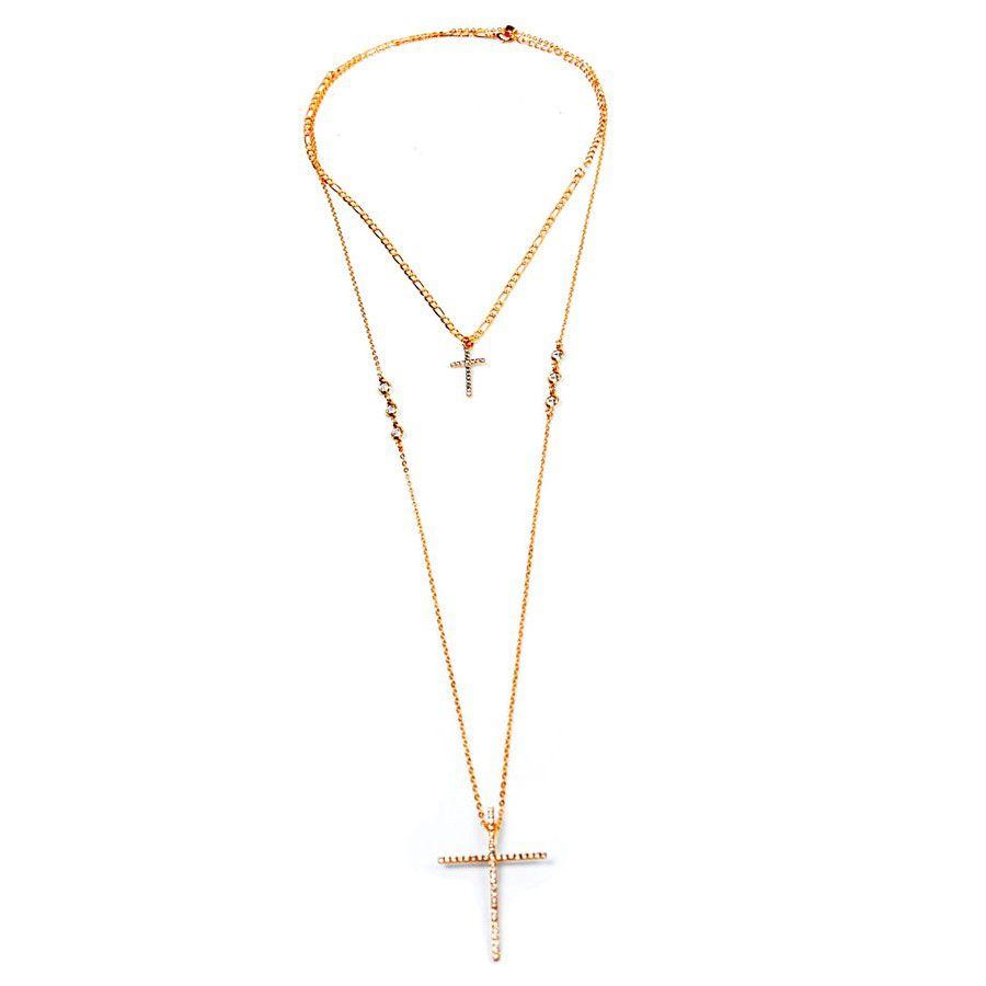 Colar Duplo Banho Ouro com Dois Crucifixos Cravejado com Strass