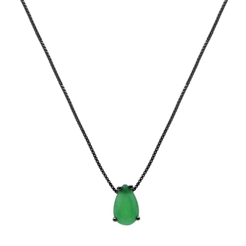 Colar Gota Cristal Esmeralda 5X8