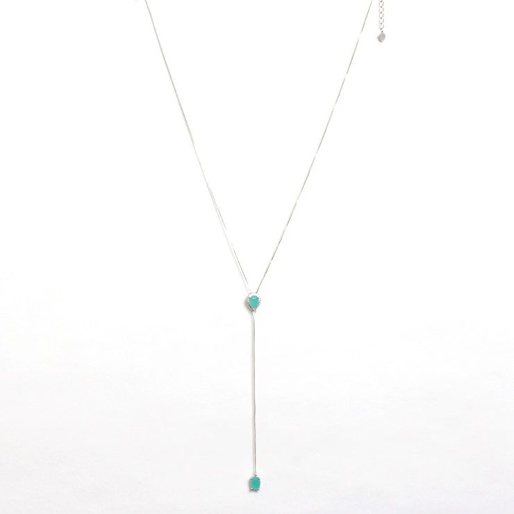 Colar Gravatinha Ródio Branco com 2 pingentes Aquamarine