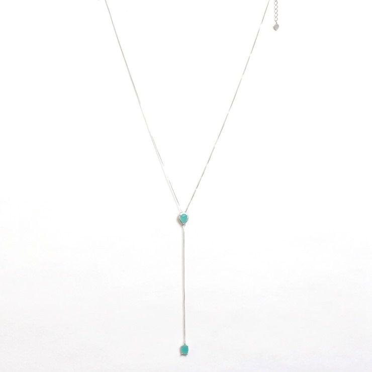 Colar Gravatinha Ródio Branco com Aquamarine