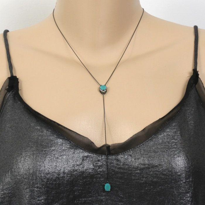Colar Gravatinha Ródio Negro com 2 Pingentes Aquamarine