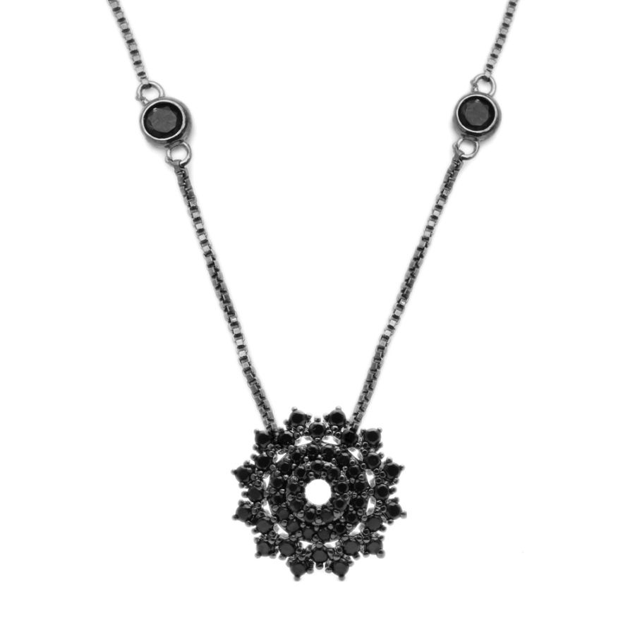 Colar Mandala em Ródio Negro cravejado Zircônia Negra